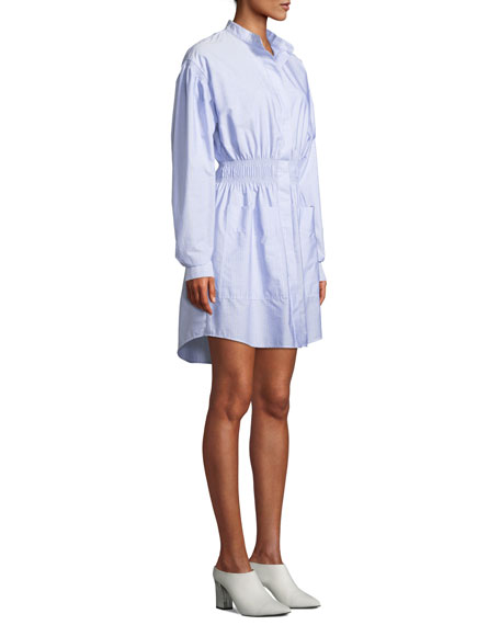 Button-Front Long-Sleeve Smocked-Waist Striped Shirtdress