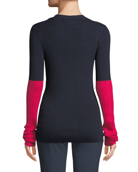 234e3c5360350 CEDRIC CHARLIER. Crewneck Long-Sleeve Colorblock Pointelle-Knit Sweater in  Blue Pattern