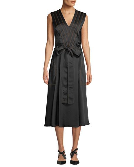 Sleeveless V-Neck Tie-Waist A-Line Satin Midi Dress