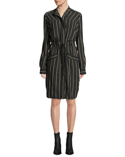Long-Sleeve Drawstring Striped Dress