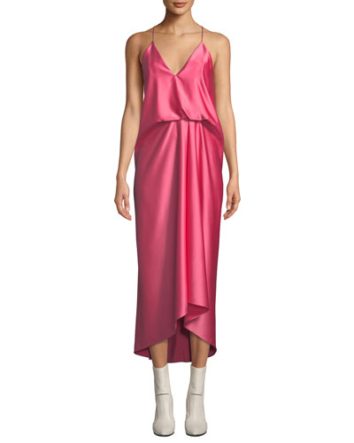 V-Neck Cami-Strap Gathered-Waist Long Satin Slip Dress