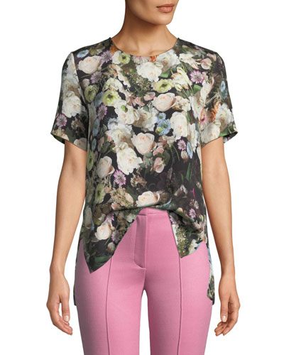 Crewneck Short-Sleeve Floral-Print Silk Crepe Top