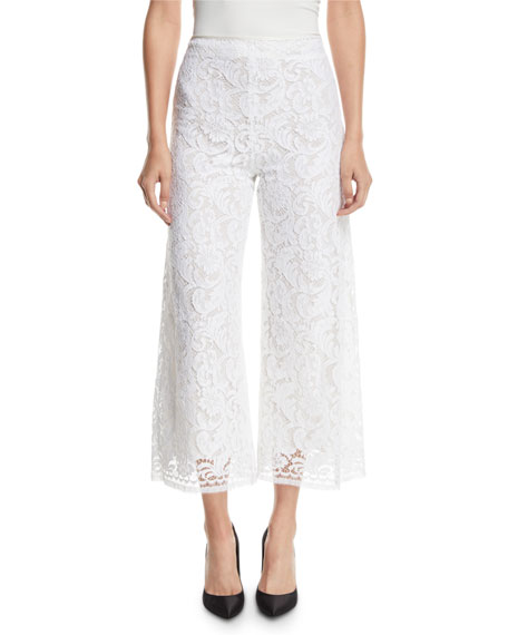Adam Lippes Corded Lace Cropped Flare-Leg Pants w/