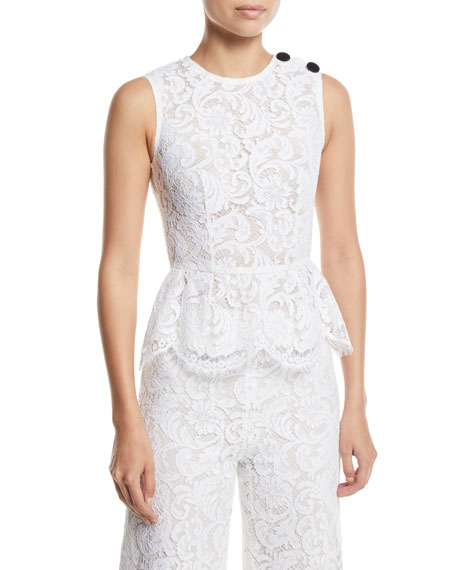 Adam Lippes Crewneck Sleeveless Peplum Corded Lace Top