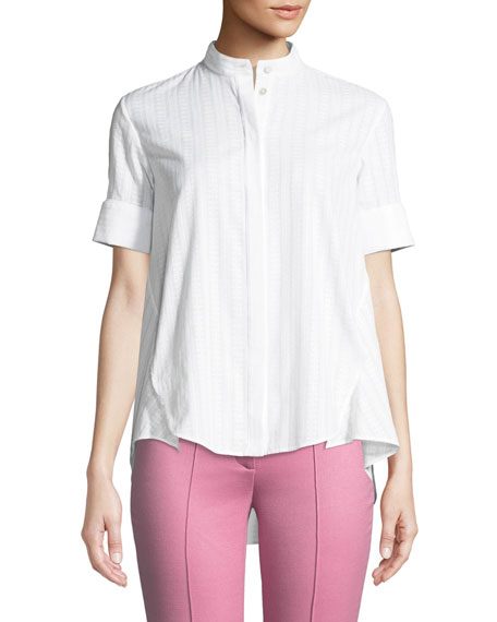Short-Sleeve Swiss Voile Trapeze Shirt