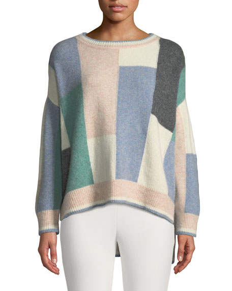 Adam Lippes Colorblock Brushed Cashmere Crewneck Pullover Sweater