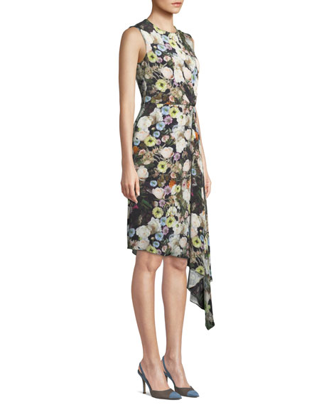 ab4b93a48741 Adam Lippes Sleeveless Crewneck Floral-Print Silk Crepe Day Dress w ...