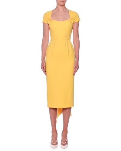 Scarf-Back Cap-Sleeve Midi Sheath Ponte Dress