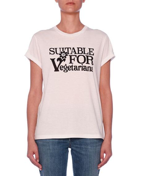Suitable For Vegetarians Crewneck Short-Sleeve Cotton T-Shirt