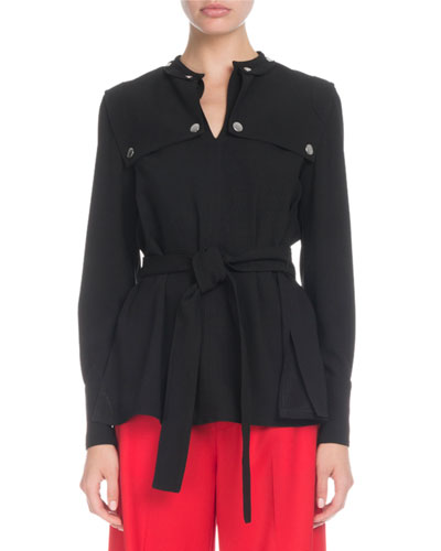 Long-Sleeve Belted Trench-Detail Blouse