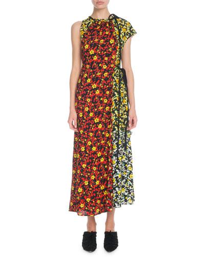 Sleeveless Mixed Poppy Wildflower-Print Asymmetric Long Dress