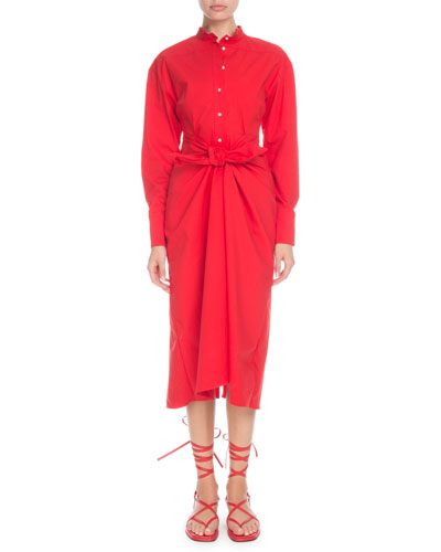 Long-Sleeve Tie-Waist Button-Front Boyfriend Shirtdress