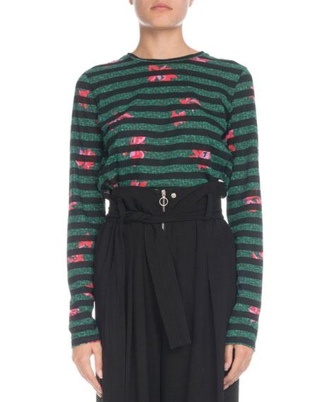Crewneck Long-Sleeve Striped Poppy-Print Cotton T-Shirt
