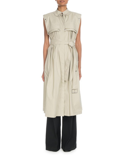 Sleeveless Trench-Style Dress with Belt