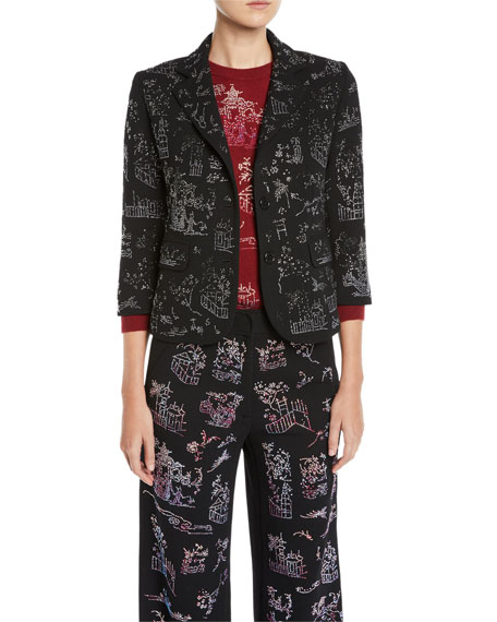 Libertine Chinoiserie Crystal One-Button 3/4-Sleeve Wool Blazer