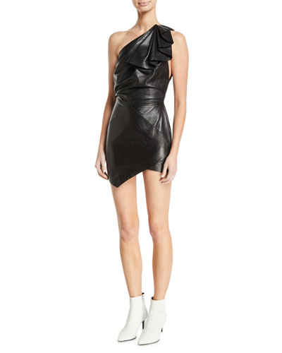 One-Shoulder Ruffle Sleeveless Body-Con Leather Mini Dress