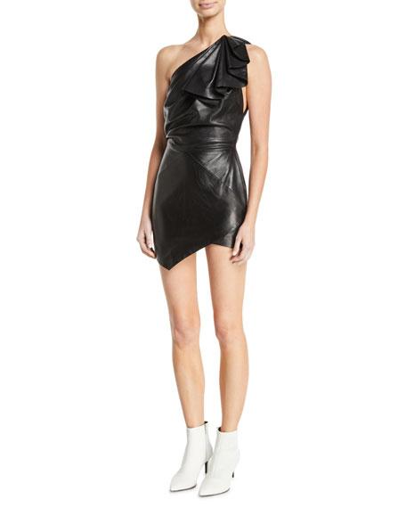 One-Shoulder Ruffle Sleeveless Body-Con Leather Mini Dress