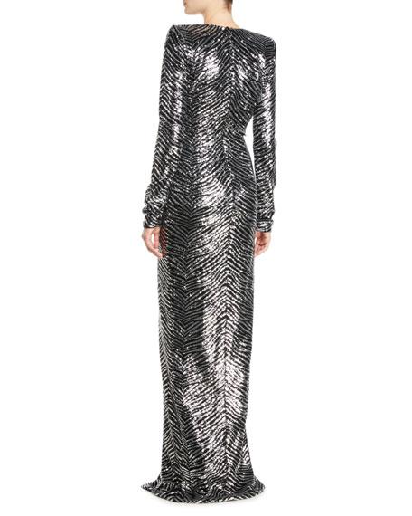 Plunging Long-Sleeve Slit-Front Zebra-Sequin Evening Gown