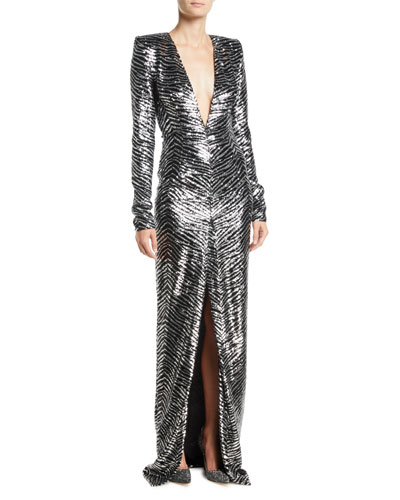 Plunging Long-Sleeve Slit-Front Zebra-Sequin Evening Gown