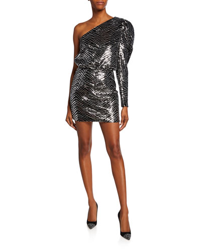 One-Shoulder Zebra Sequined Dress