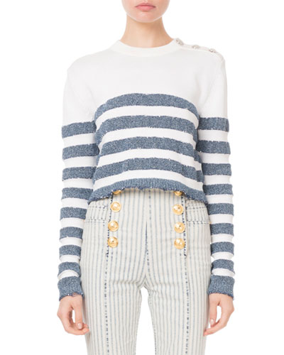 Striped Button-Shoulder Long-Sleeve Sweater