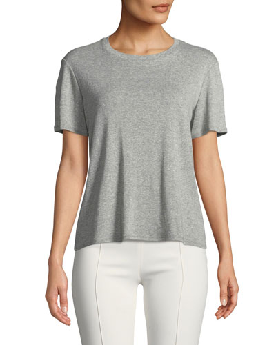 Wesler Crewneck Short-Sleeve Heathered Cotton Top