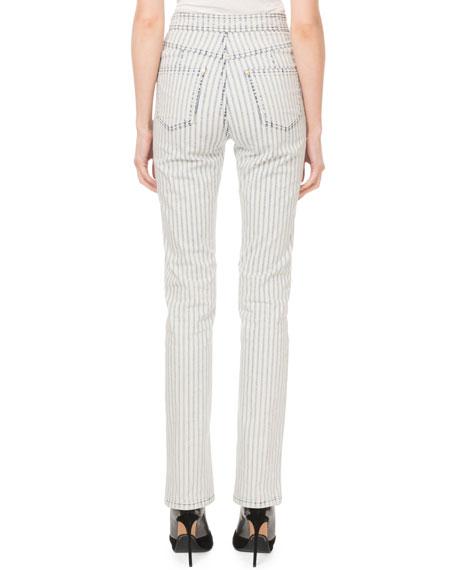 High-Waist Pinstriped Golden-Button Flare Jeans