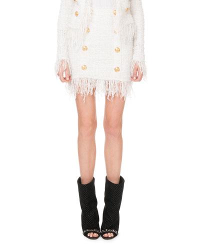 High-Waist Tweed Golden-Button Miniskirt