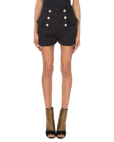 High-Waist Tweed Button-Front Shorts