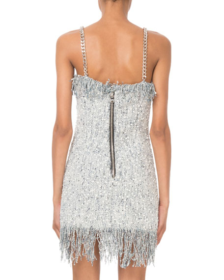 ca2bd5dc Balmain Sleeveless Sequined-Tweed Chain-Strap Mini Dress