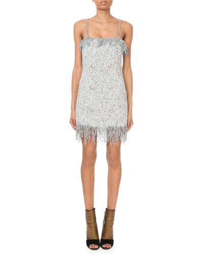 Sleeveless Sequined-Tweed Chain-Strap Mini Dress
