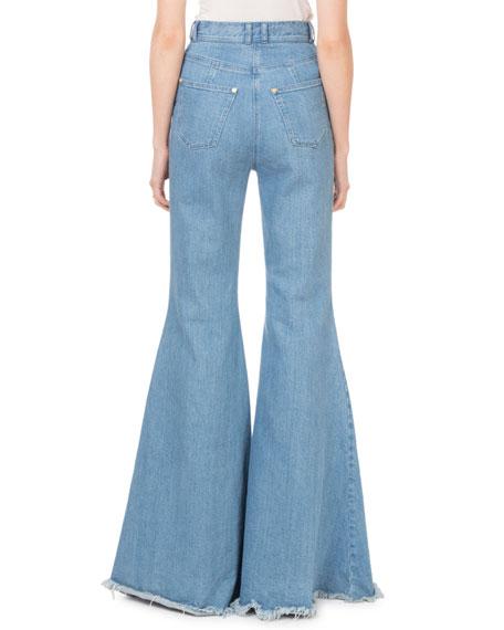 High-Waist Flare-Leg Fray Hem Jeans