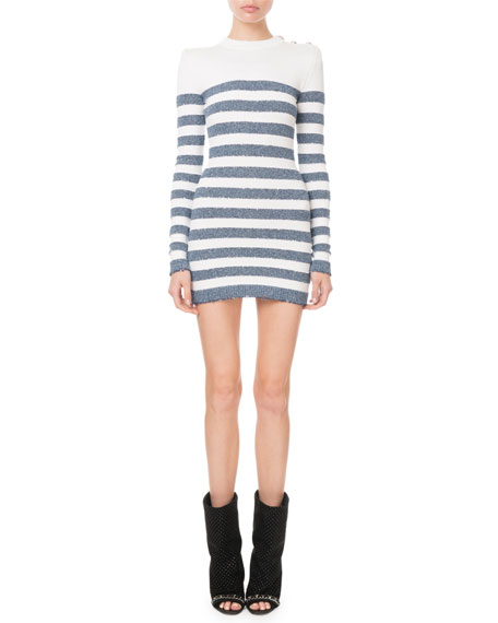 Balmain Long-Sleeve Shimmer-Stripe Button-Shoulder Mini Dress