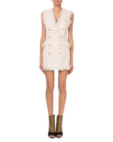 Balmain Sleeveless Checkered Tweed Golden Button Dress