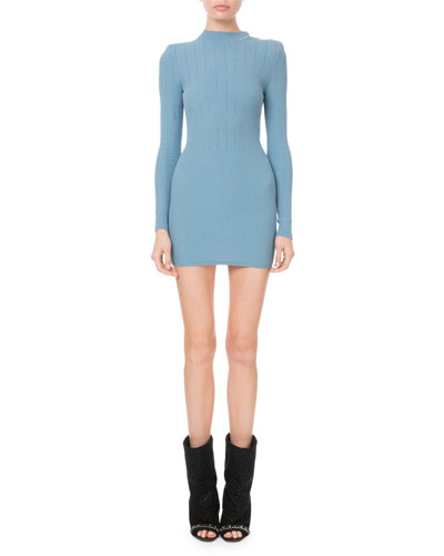 Mock-Neck Crochet Ribbed-Knit Button-Shoulder Mini Dress