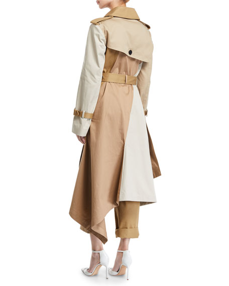 Two-Tone Patchwork Khaki Twisted Trench Coat