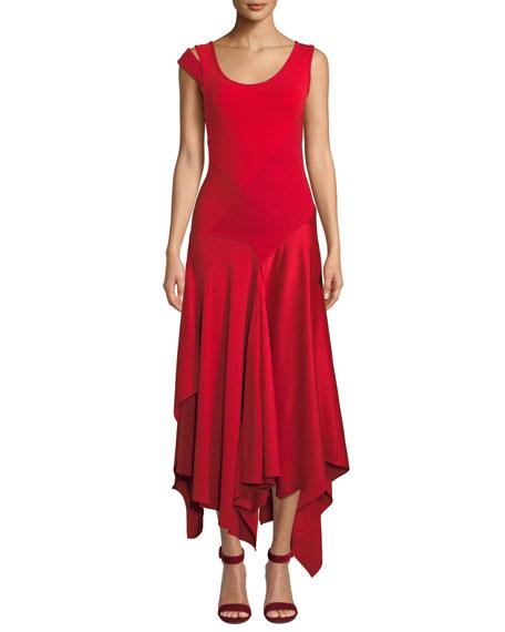 Monse Scoop-Neck Patchwork Sleeveless Asymmetric Dress