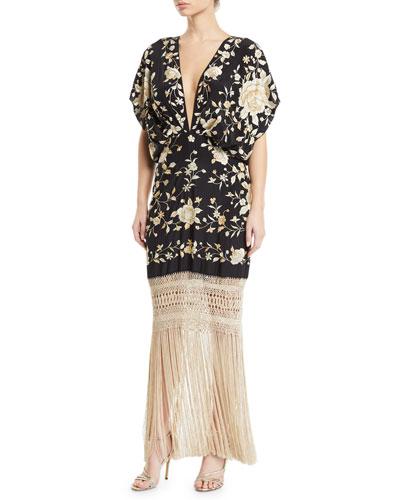 V-Neck Floral Embroidered Fringe-Hem Dress