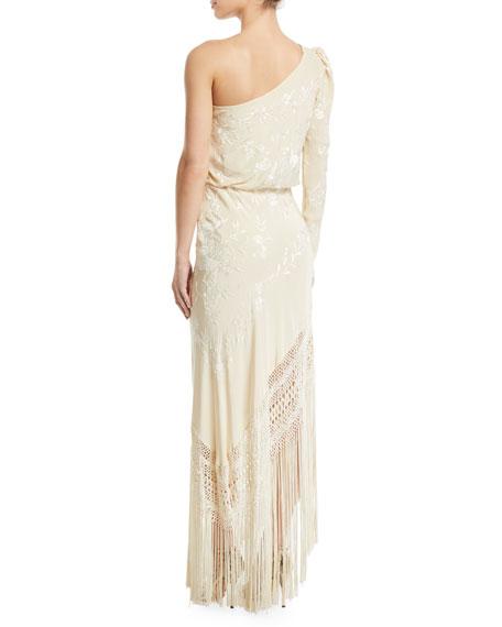 One-Shoulder Floral Jacquard Fringed Dress