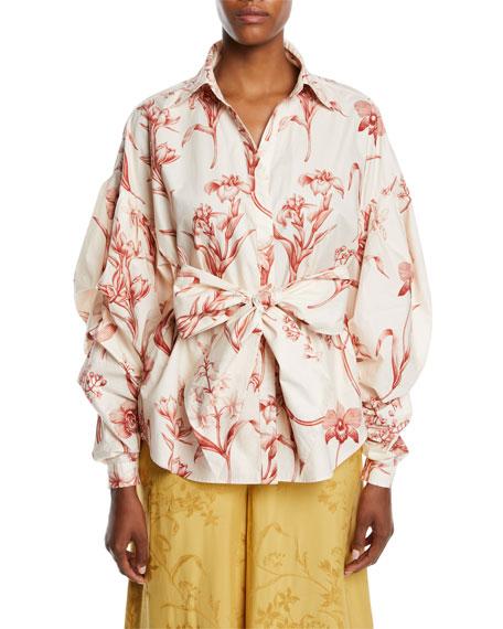 Johanna Ortiz Rushcutters Bay Pouf Long-Sleeve Lily-Print Cotton