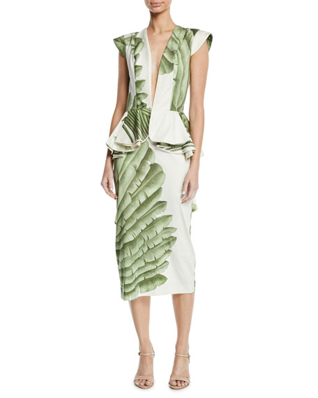 Johanna Ortiz Natural Listic Plunging Cap-Sleeve Palm-Print
