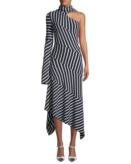 Monse One-Shoulder Tie-Neck Chevron Jersey Midi Dress