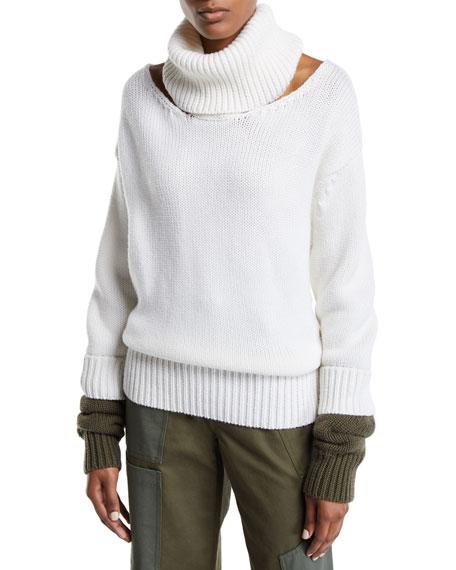 Monse Collar-Cutout Turtleneck Wool Sweater