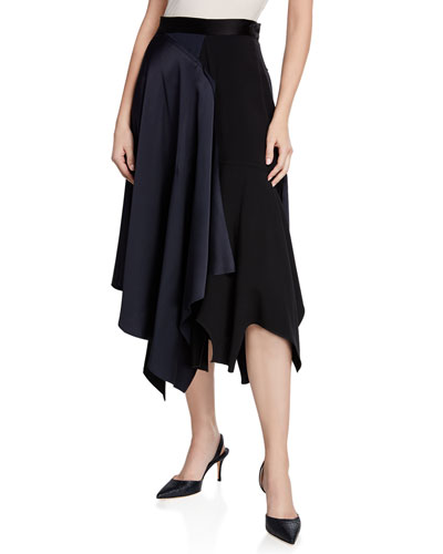 High-Rise Asymmetric Draped Satin Skirt