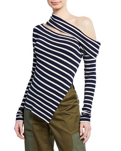 Off-The-Shoulder Striped Slashed Sweater