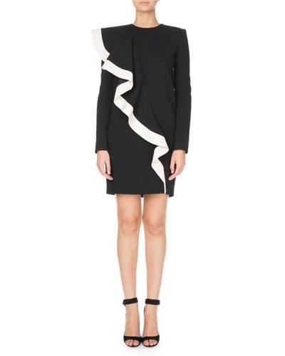 Ruffle-Front Long-Sleeve Mini Dress