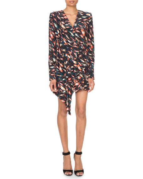 Long-Sleeve Abstract Print Cascading Mini Dress