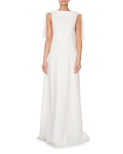 Silk Caplet High-Neck Gown