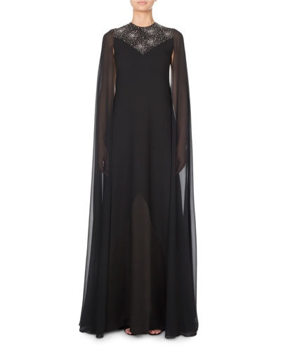 Chiffon Cape-Sleeve Gown