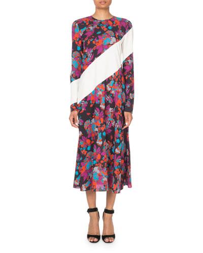 Floral Asymmetric-Striped Long-Sleeve Midi Dress